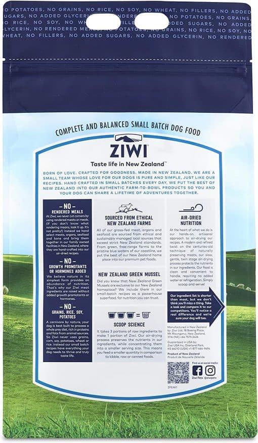 Ziwi Peak Lamb Air-Dried Dog Food Back of Packet